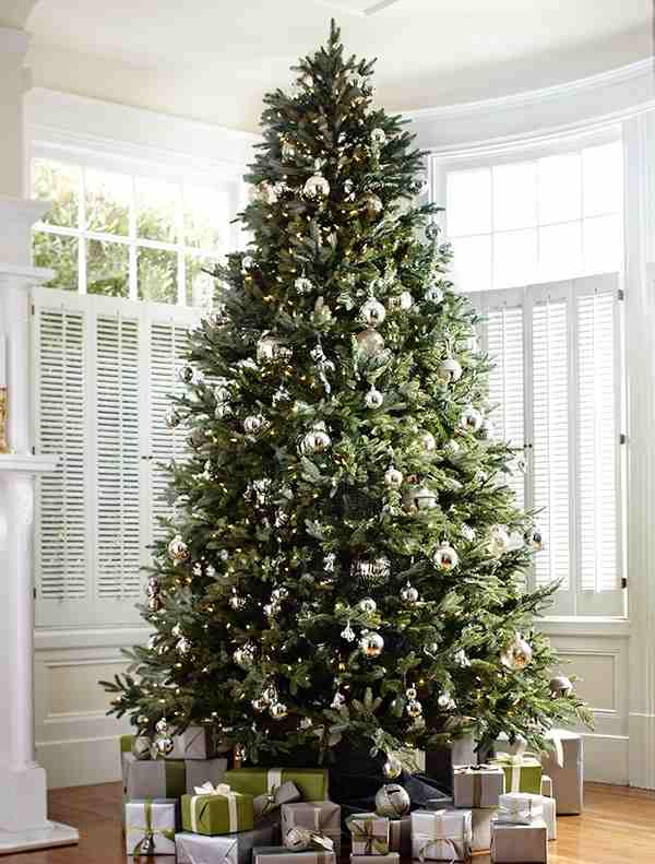 fraser fir and silver bells christmas tree decorating ideas - Christmas Tree Bell Decoration
