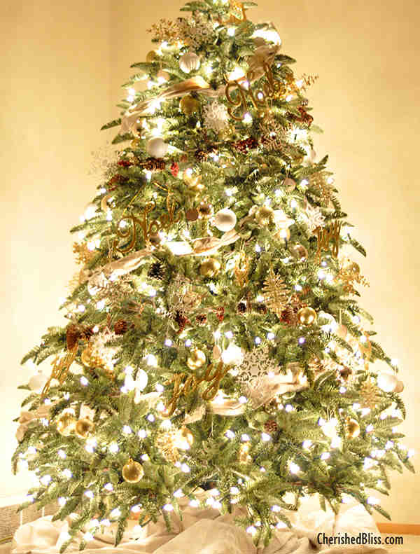 Christmas Tree Decorations 2014 rustic silver and gold tree - christmas tree decorating ideas