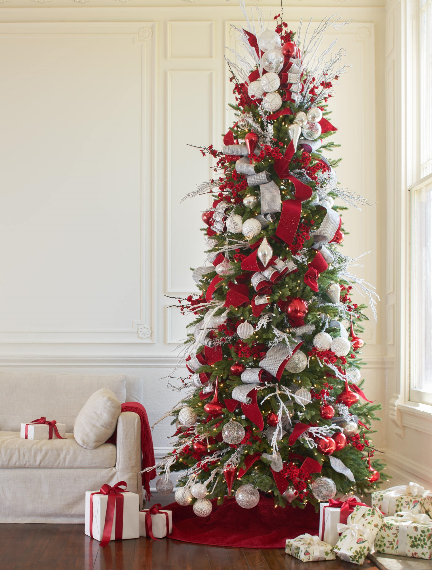 Red white and sparkle christmas tree christmas tree for Decoration xmas tree
