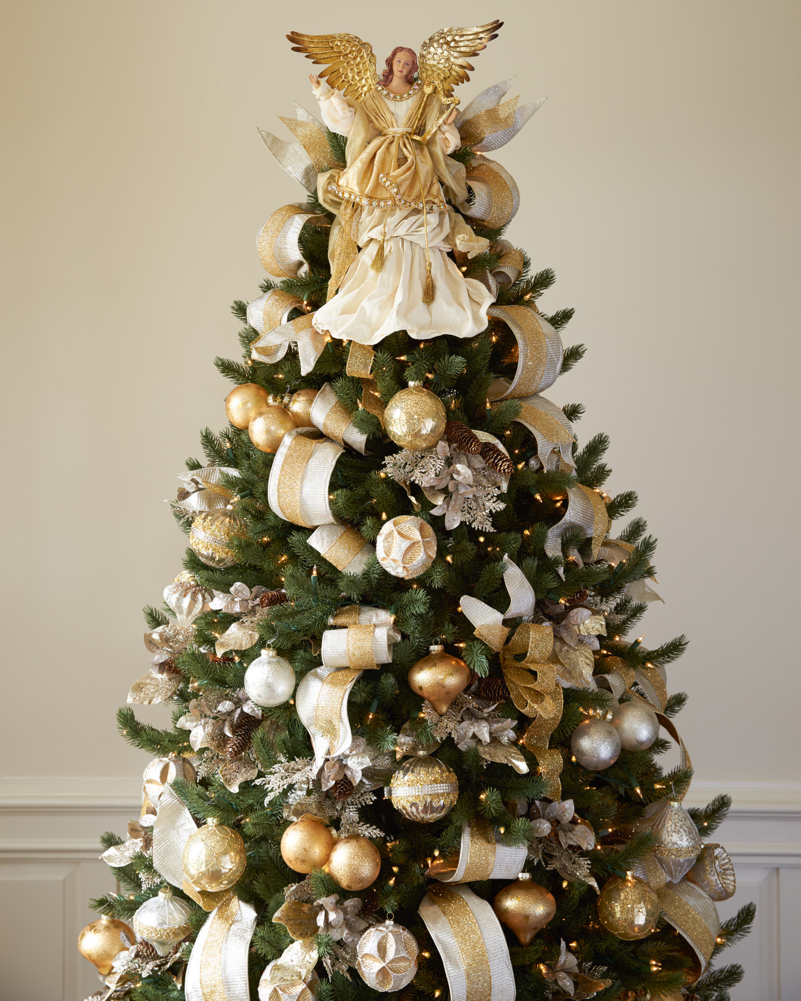 silver and gold christmas tree gold angel tree topper