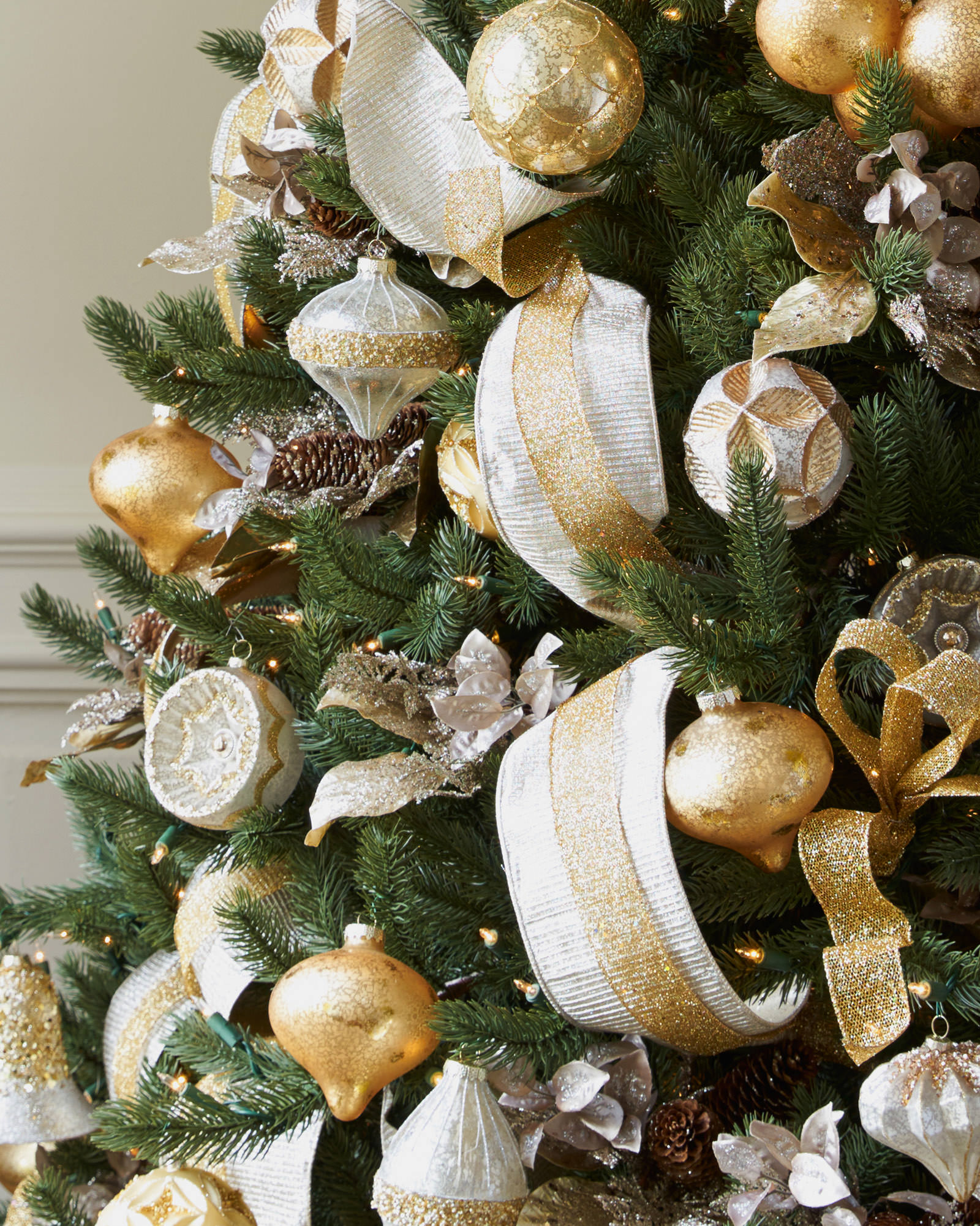 Silver and Gold Christmas Tree · Gold Angel Tree Topper · Vermont White Spruce · Vermont White Spruce · Platinum Pleated Lame ribbon ...