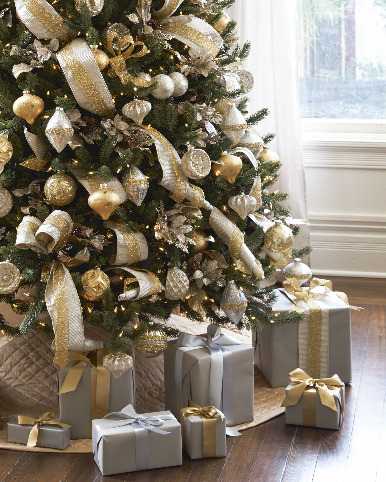 silver and gold christmas tree gold angel tree topper vermont white spruce vermont white spruce - Silver Christmas Tree Decorating Ideas