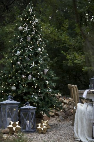 Allegheny artificial Christmas tree decorated with beach-inspired ornaments