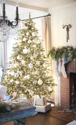 white and french blue wintry elegance classic vintage balsam fir artificial christmas tree lit and decorated