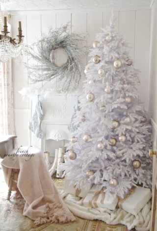 white christmas tree with blush and white decorations, softer side of Christmas