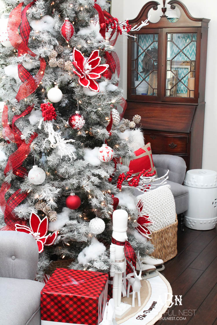 a classic red and white tree