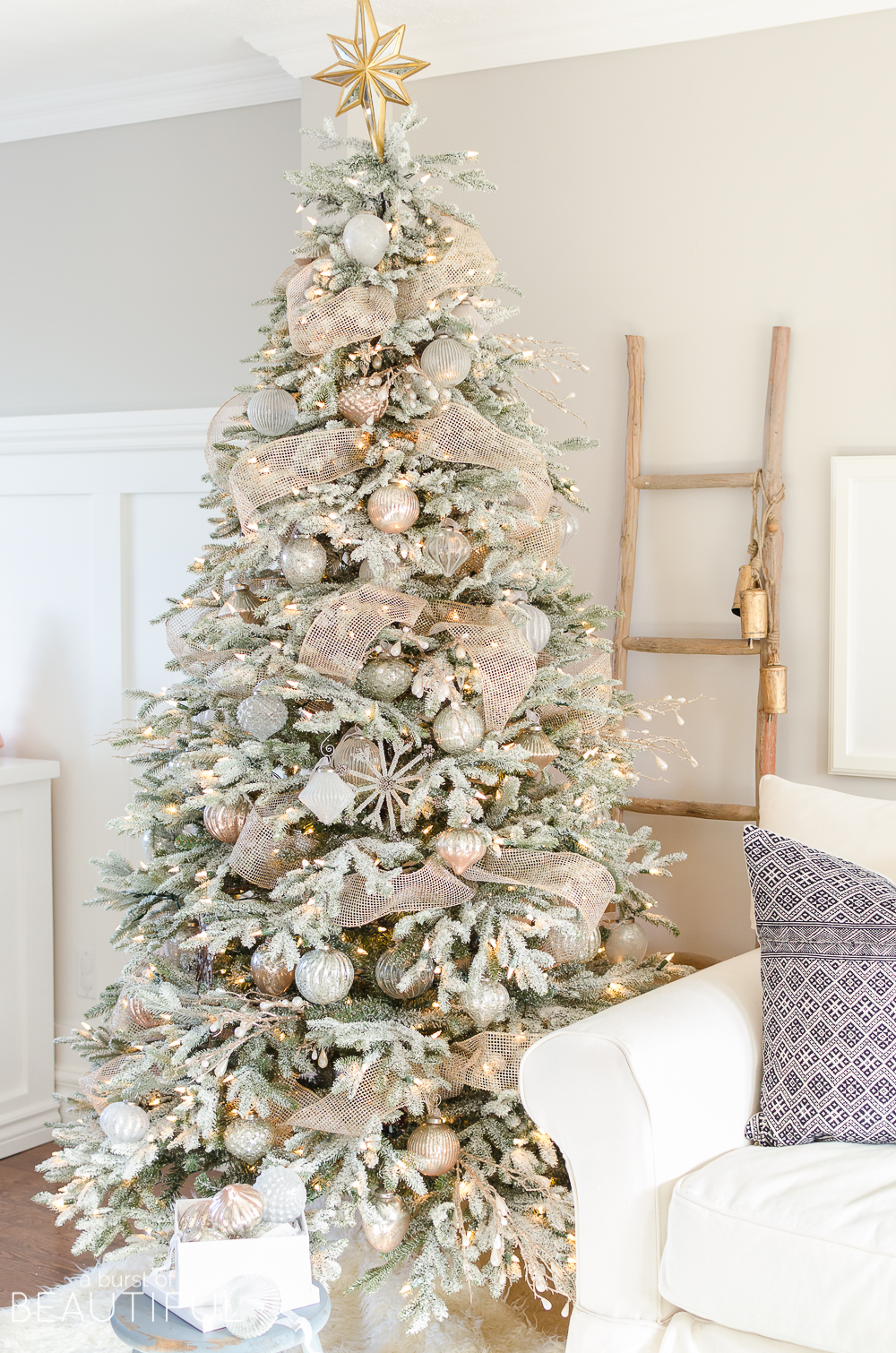 snowy flocked christmas tree frosted fraser fir - Flocked Christmas Tree Decorating Ideas