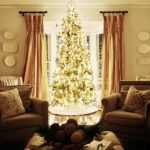 Country Farmhouse Christmas Tree with lights